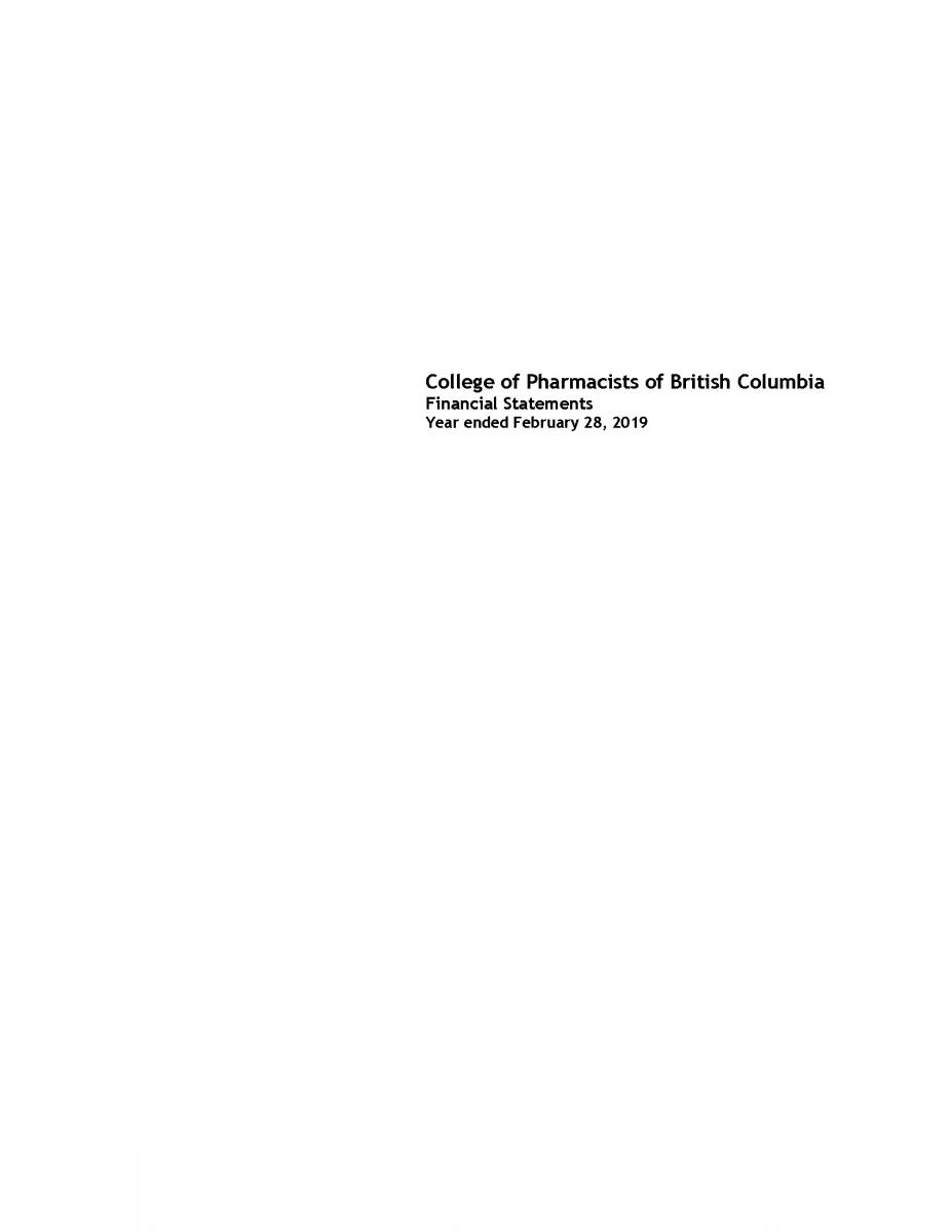 College of Pharmacists of British Columbia - 2018 - Page 1